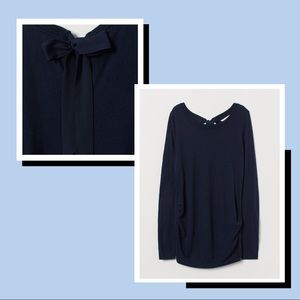 Navy maternity sweater with chiffon tie back
